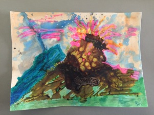 """Explosion Too"" 11x15 watercolor paper & mixed media"